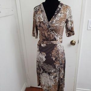 Elie Tahari Brown Silk Wrap Dress-size S/P